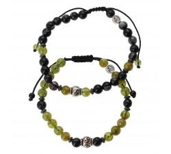 Bracelets de couple en Péridot, Agate Oeil de Bouddha et Hématite