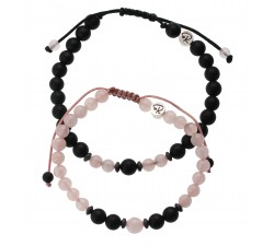 Bracelets de couple en Quartz Rose et Agate Noire mate