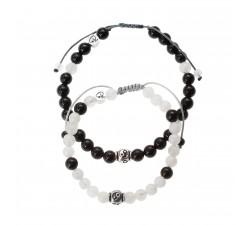 """Bracelets de couple """"Yin et Yang"""" en Pierre de Lune, Tourmaline Noire et Argent 925"""