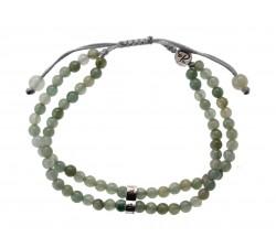 Bracelet Double Rang en Jade vert et Argent 925
