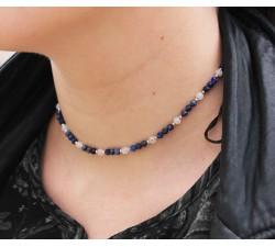 Collier Ras de Cou en Lapis Lazuli, Pierre de Lune et Argent 925