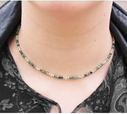 Collier ras de Cou en Turquoise d'Afrique, Préhnite et Argent 925