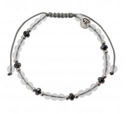 Bracelet en Cristal de Roche, Hématite et Argent 925