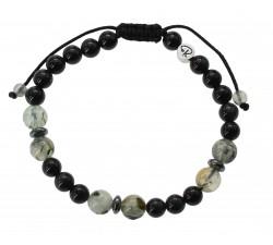 Bracelet Obsidienne Oeil Céleste et Préhnite Homme
