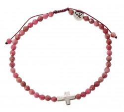 Bracelet Christ en Rhodonite Facettée et Argent 925