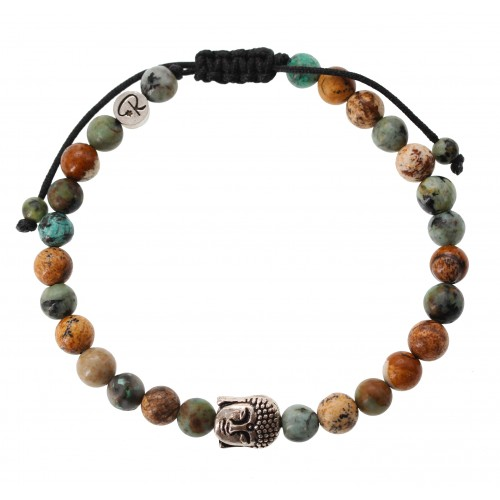 Bracelet Bouddha en Jaspe Paysage et Turquoise Africaine
