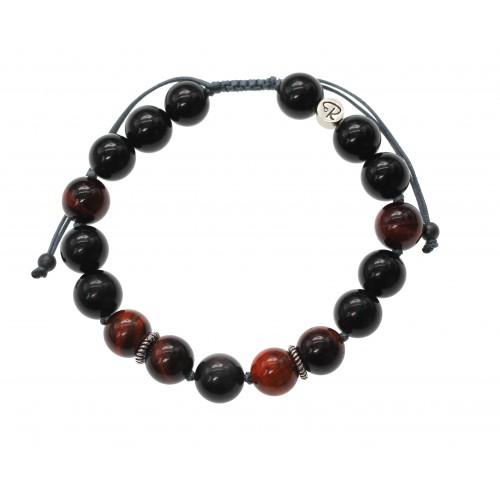 Bracelet Energie en Obsidienne Oeil Céleste et Oeil de Taureau, Argent 925
