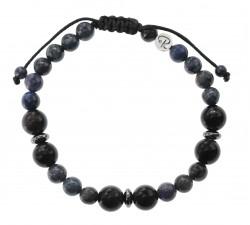Bracelet Dumortiérite et Obsidienne Oeil Céleste - Homme