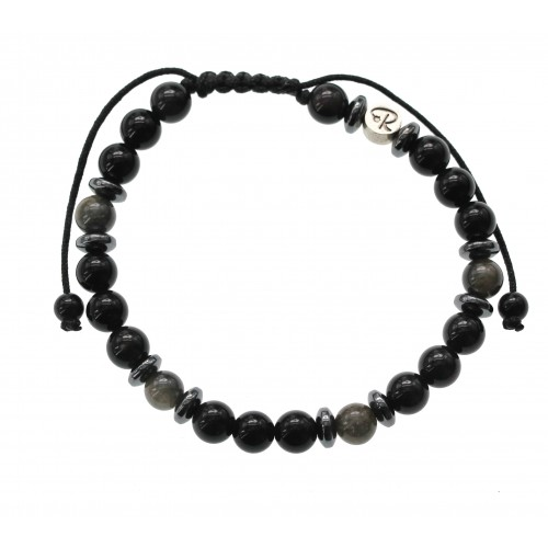 Bracelet en Obsidienne Dorée et Oeil Céleste