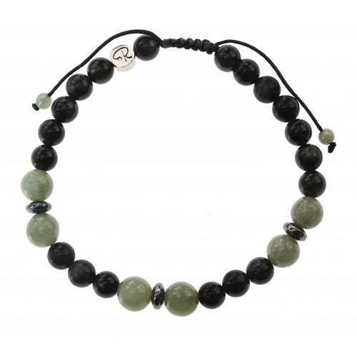 Bracelet en Obsidienne Oeil Céleste et Jade Vert pour homme
