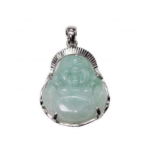 Pendentif Bouddha en Jade Vert et Argent 925