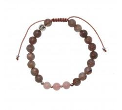Bracelet Paix en Labradorite, Quartz Rose et Argent 925