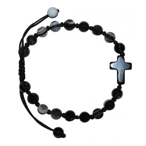 Bracelet sainteté en agate et onyx