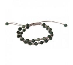 Bracelet double en Jade vert